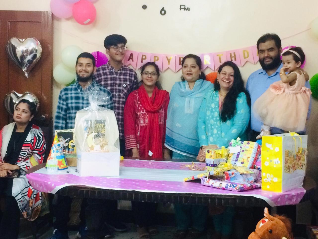 Left to Right: Obaid-ur-Rehman, Habib-ur-Rehman, Mariam A. Rehman, Dr. Kiran A. Rehman, Faryal Khan, Bilal A. Khan and Ayra posing for a photograph.