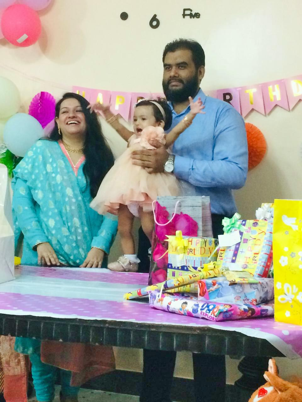 Baby Ayra with her parents, Bilal Ahmed Khan and Faryal Khan