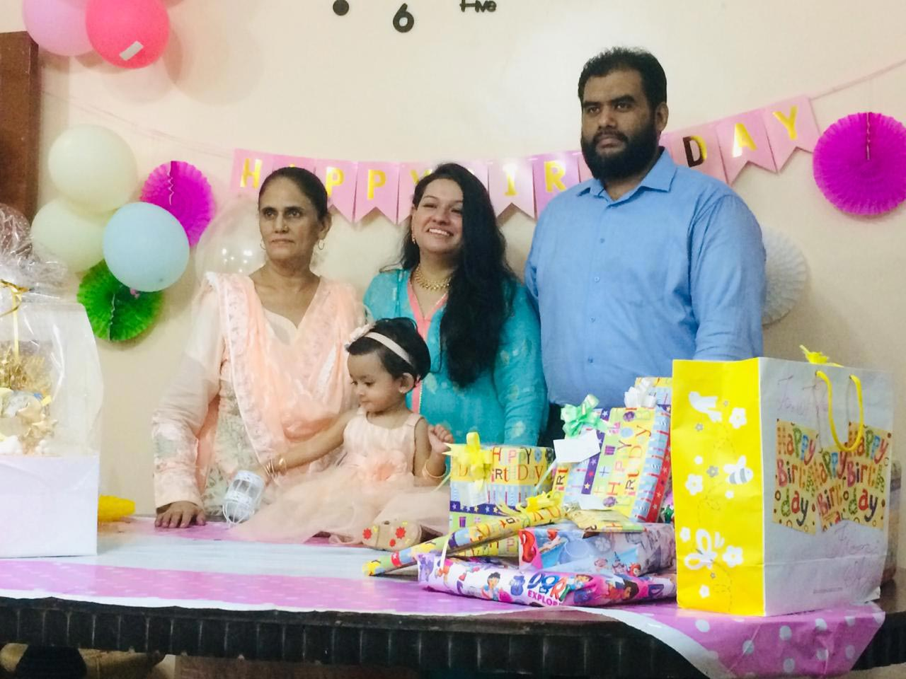 Left to Right: Baby Ayra with her grandmother (Dadi), Rudaba Irshad and her parents, Bilal A. Khan and Faryal Khan.