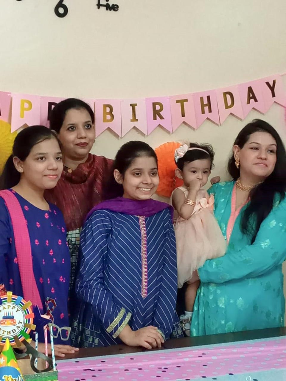 Left to Right: Zoya Imran Khan, Erum Imran and Zara Imran Khan with Faryal Khan and Baby Ayra.