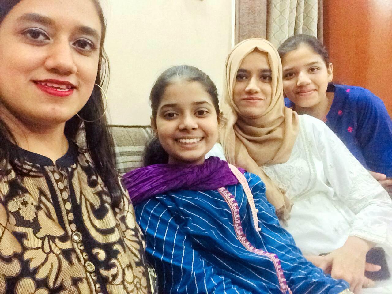 Faryal's sisters, Fatima Khaleeq and Maryam Khaleeq with Zoya and Zara Imran.