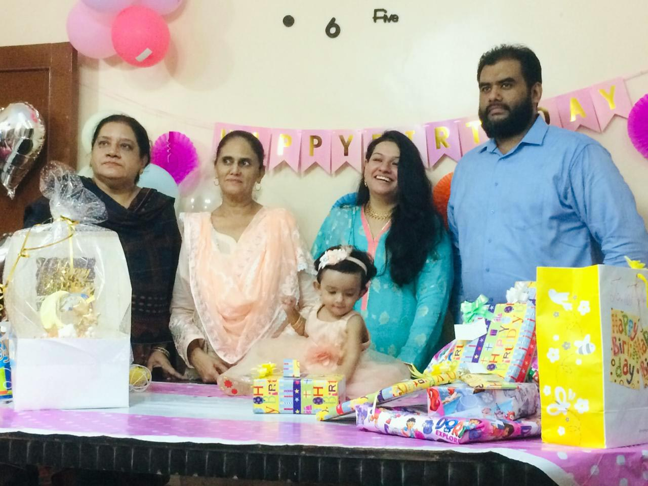Baby Ayra is very happy with her grandmother (Nani), Naila Khaleeq and Dadi, Rudaba Irshad and parents.