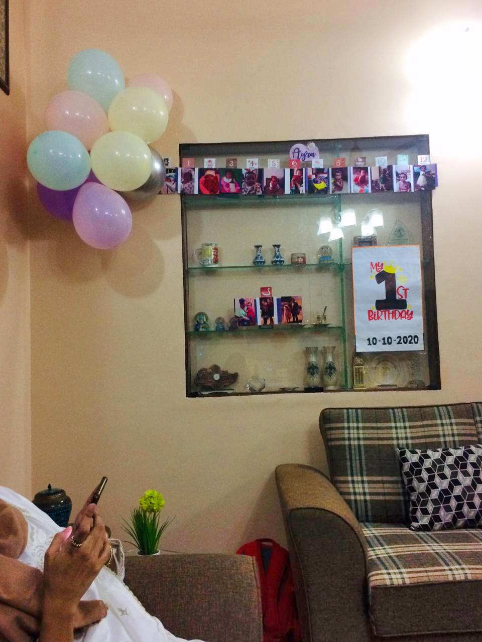 More timelines and balloons put up for Ayra's birthday.