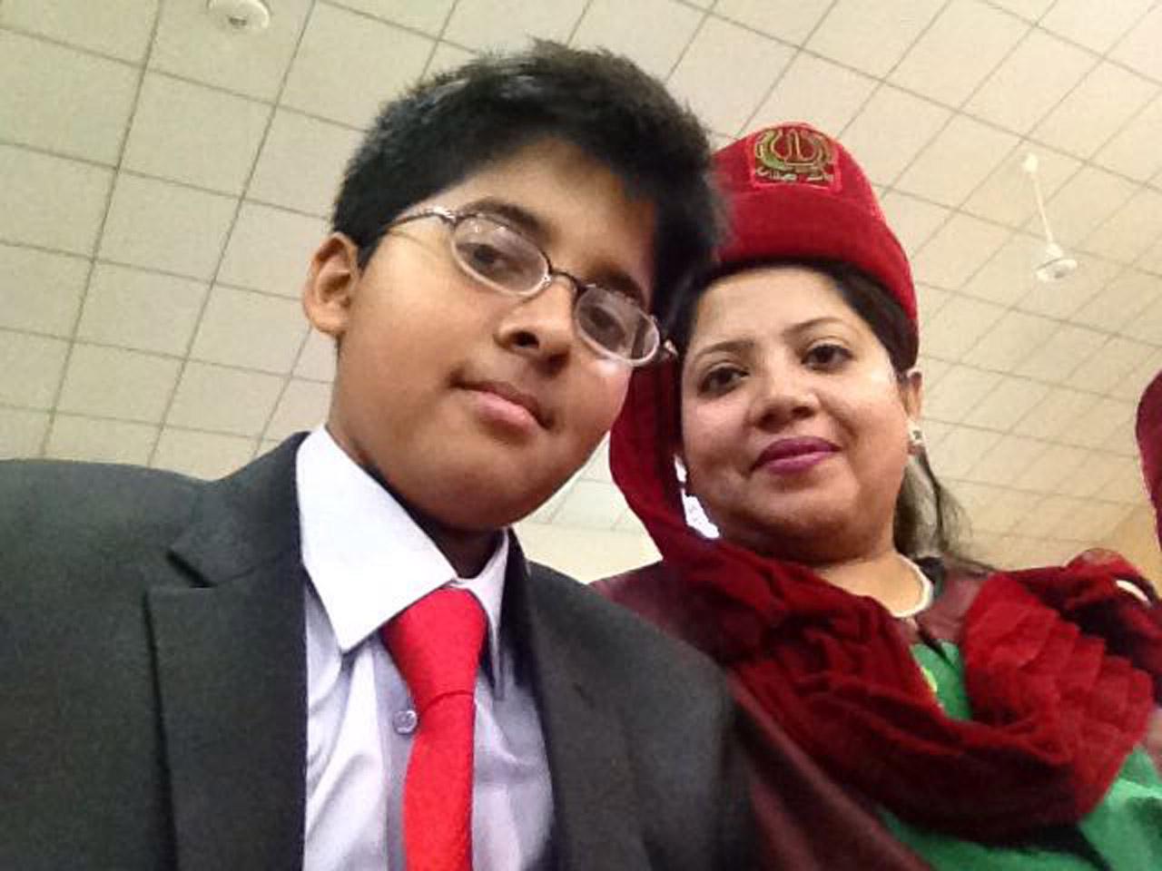 Dr. Kiran A. Rehman with her son Habib Ur Rehman