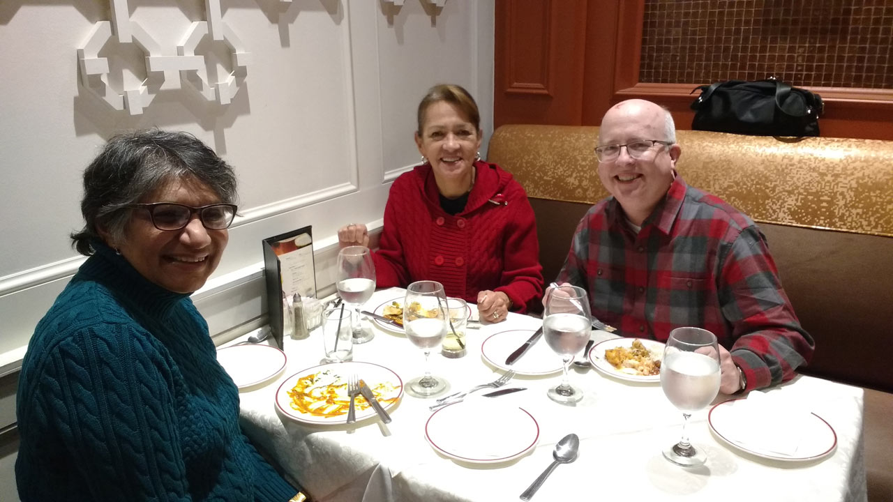 Fr L to R: Jasmine Carvalho, Cathy and Fraser Brown