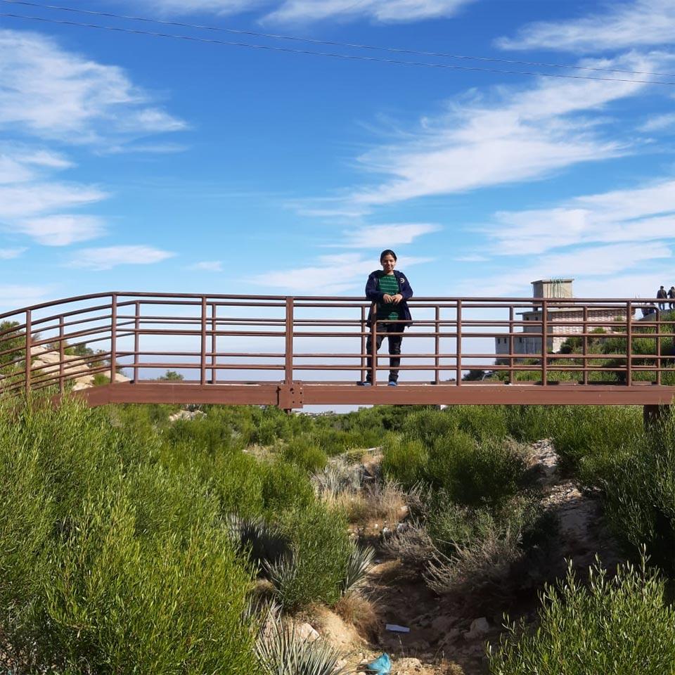 Zoya is enjoying on the bridge at the Gorakh Hills