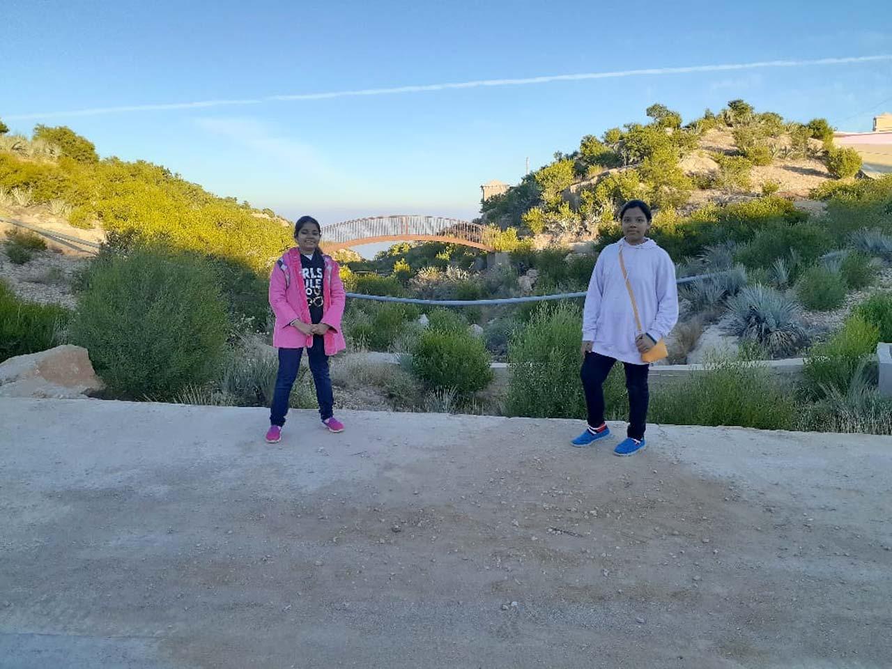 Zoya and Zara are enjoying the view climbing up the mountain