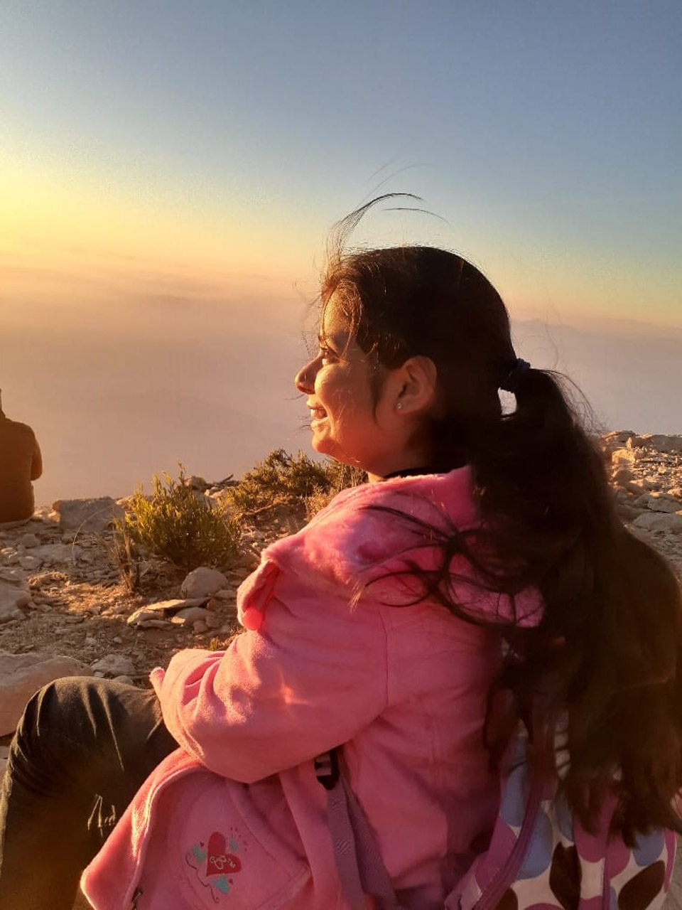Zara is enjoying the beautiful view of sunset at Gorakh hills