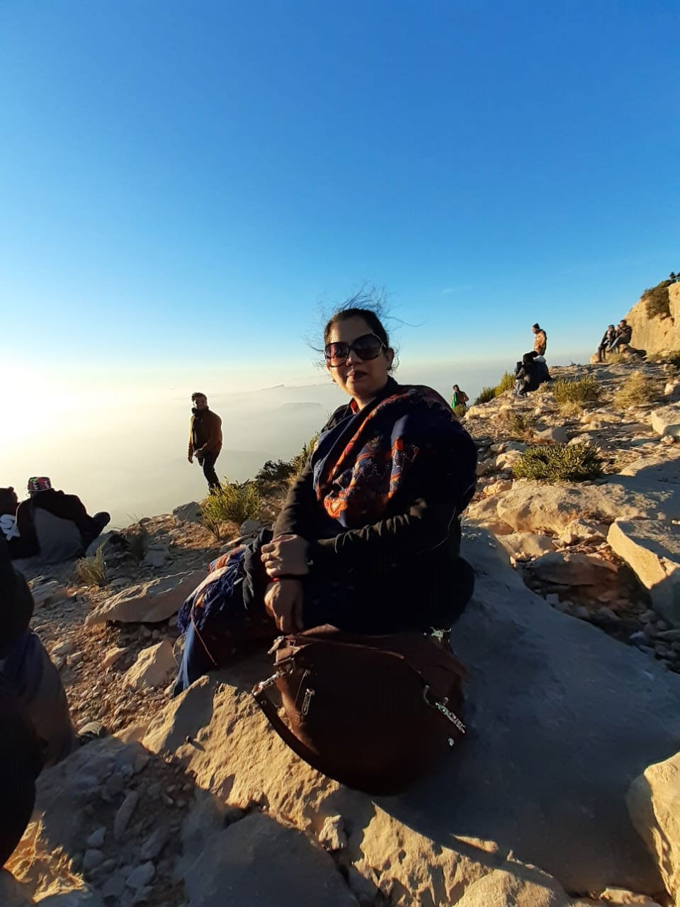 Erum Imran is enjoying the beautiful view at Gorakh Hills
