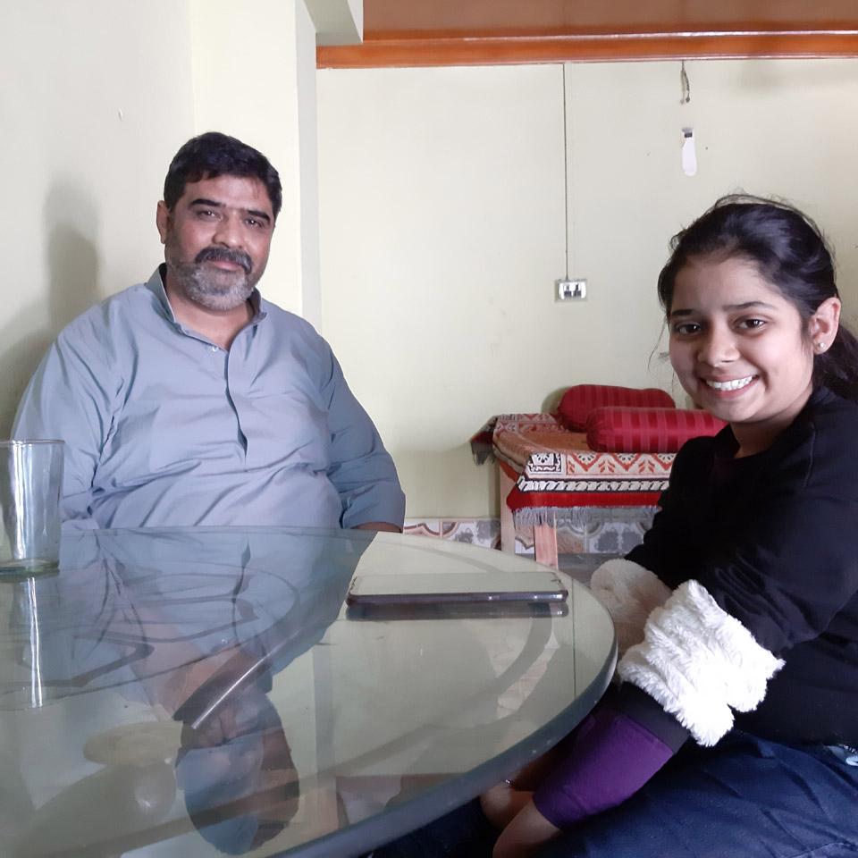 Imran Khan and Zara Imran sitting inside a restaurant at Sukkur Sindh.