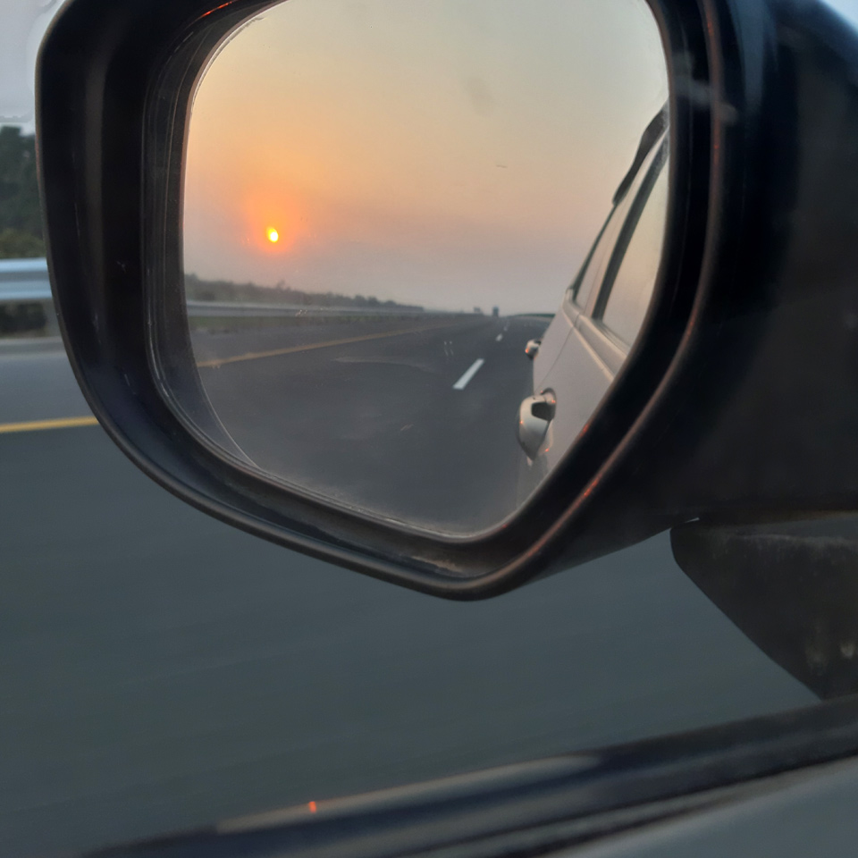 A great view of the breathtaking sunset while passing the Sukkur, Multan Motorway.