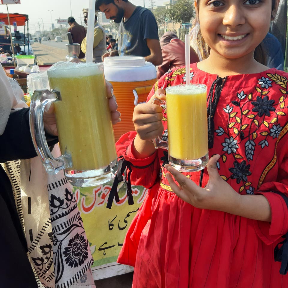 Zara Imran enjoying fresh Orange Juice at the Wagah Boarder.