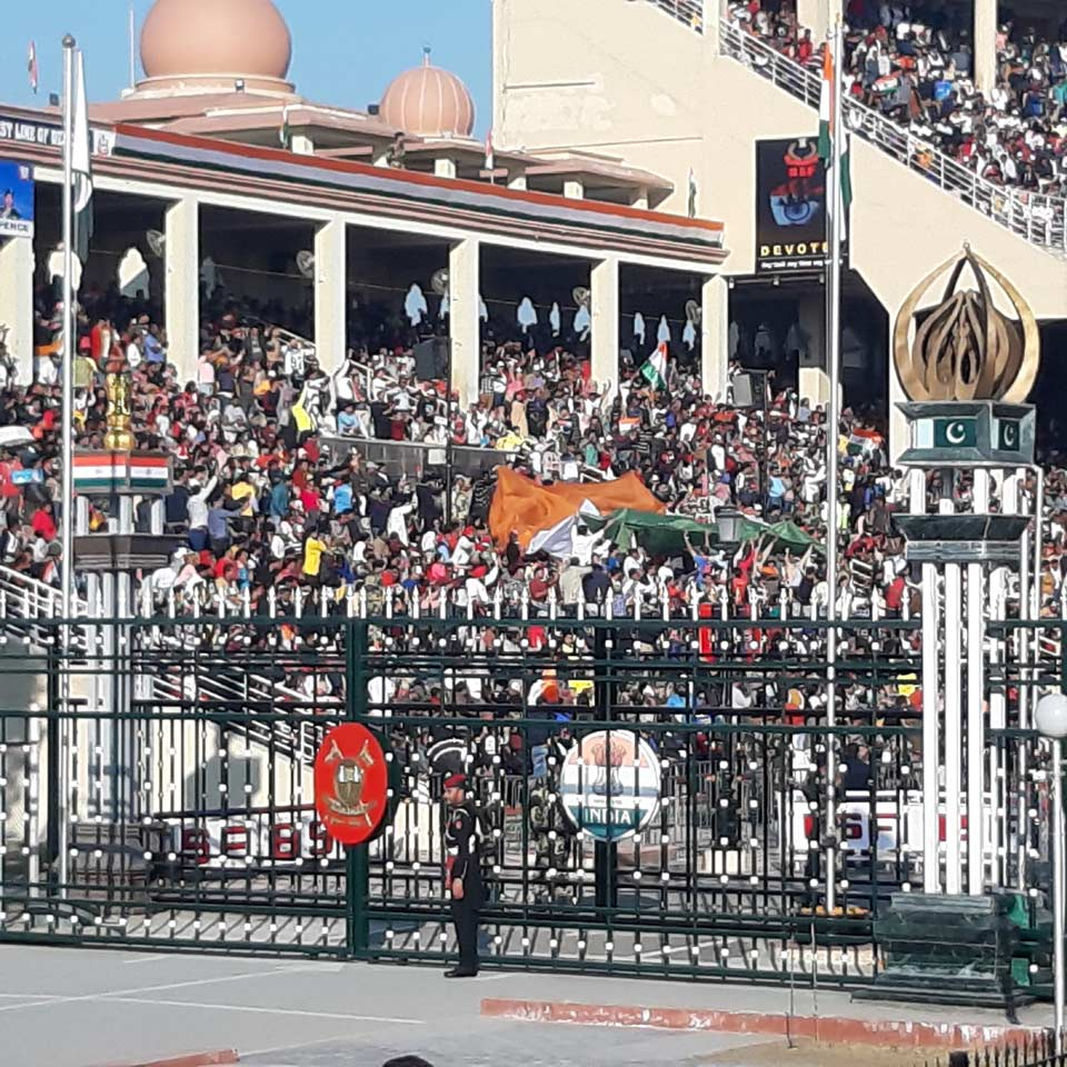The guests at the Indian side of the Wagah boarder.