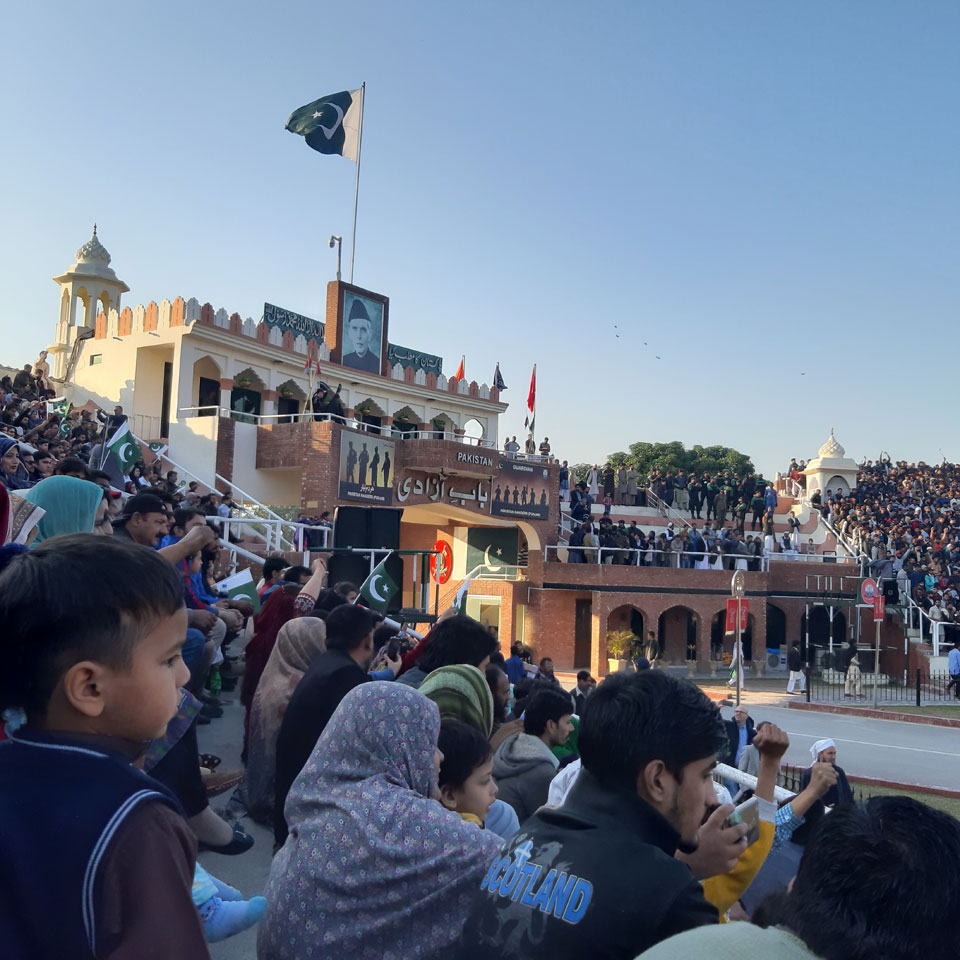 The guests at the Pakistani side of the Wagah boarder.