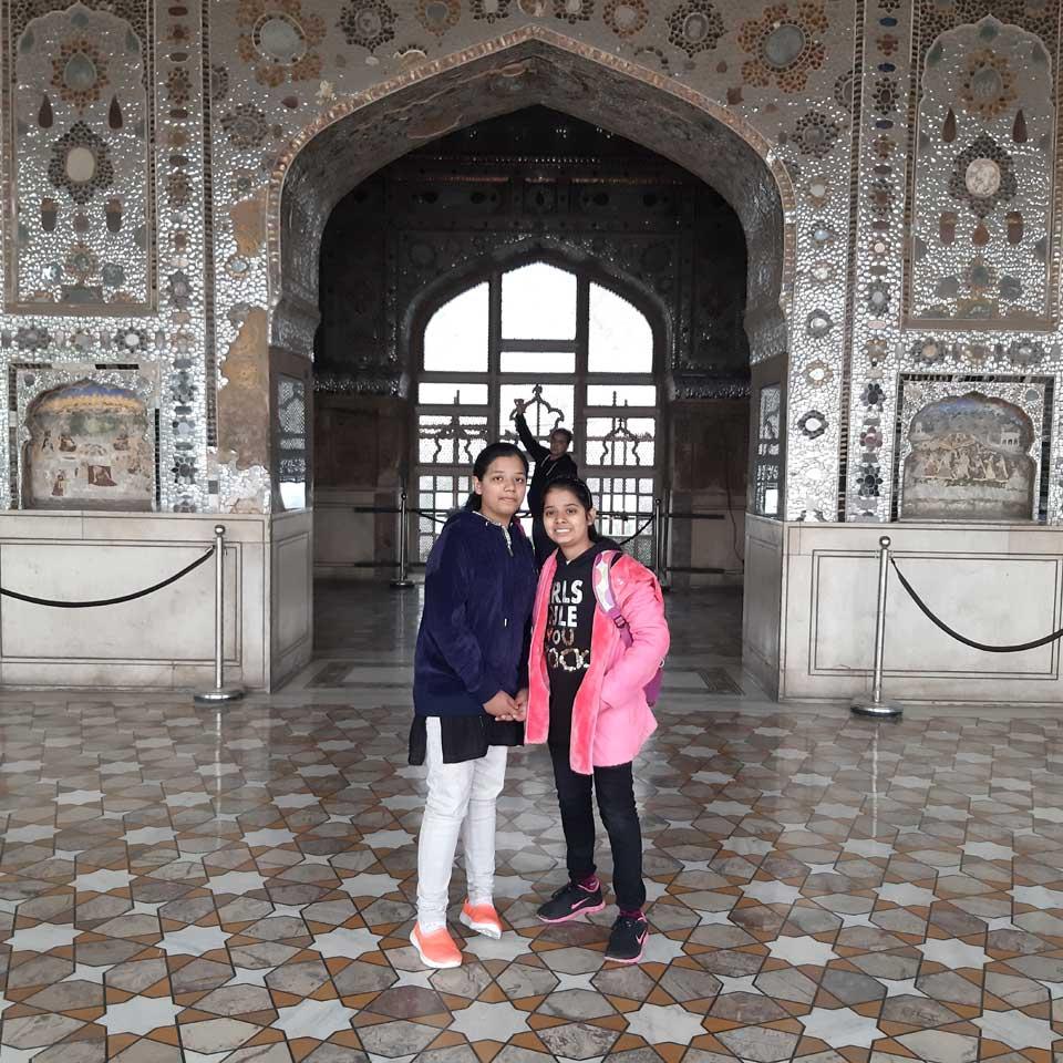 Zoya and Zara in the amazing Sheesh Mahal of Lahore Fort.