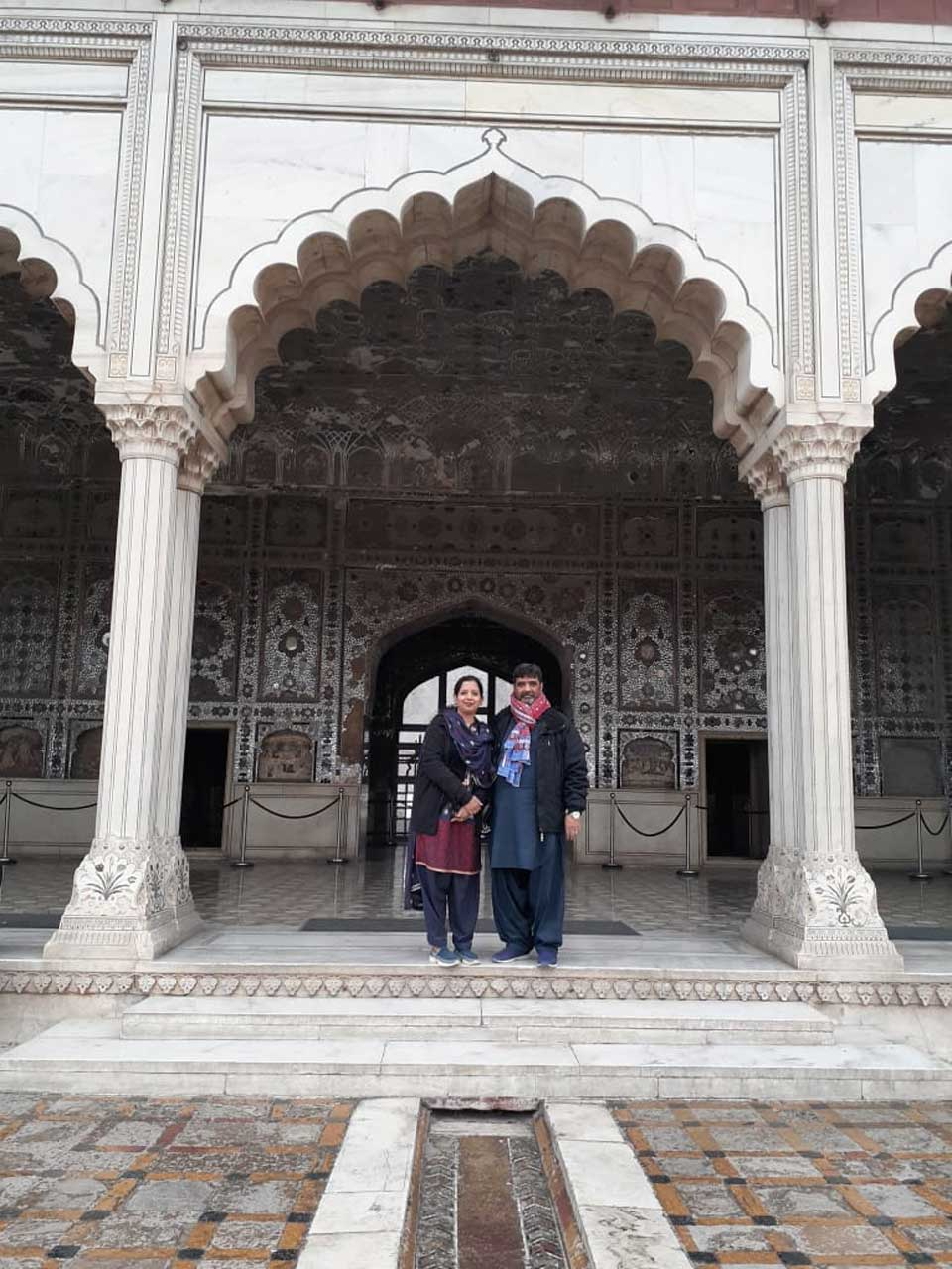 Erum and Imran are in the Sheesh Mahal of Lahore.