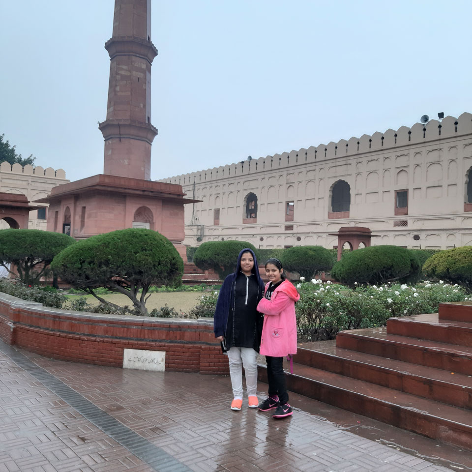 Zoya and Zara in front of Dr. Mohammad Allama Iqbal's Tomb in Lahore.