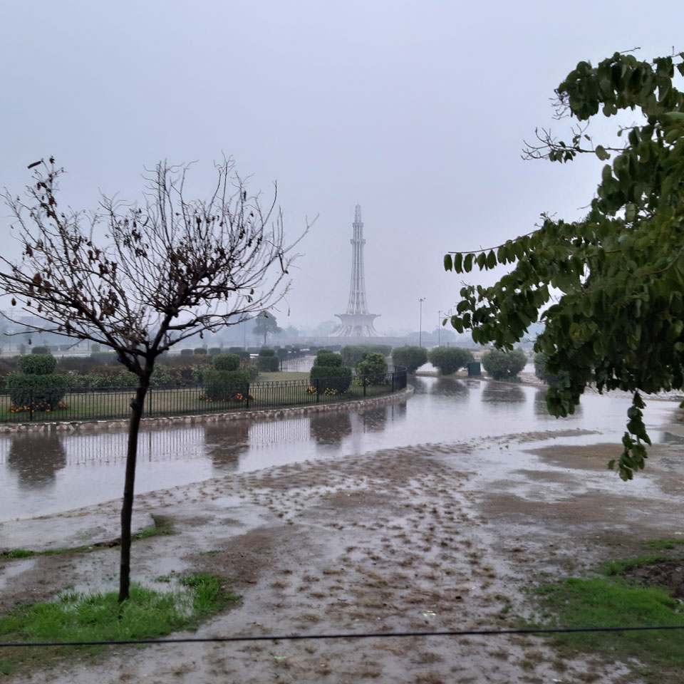 A breath, taking view of the Minar-e-Pakistan in the lovely atmosphere.
