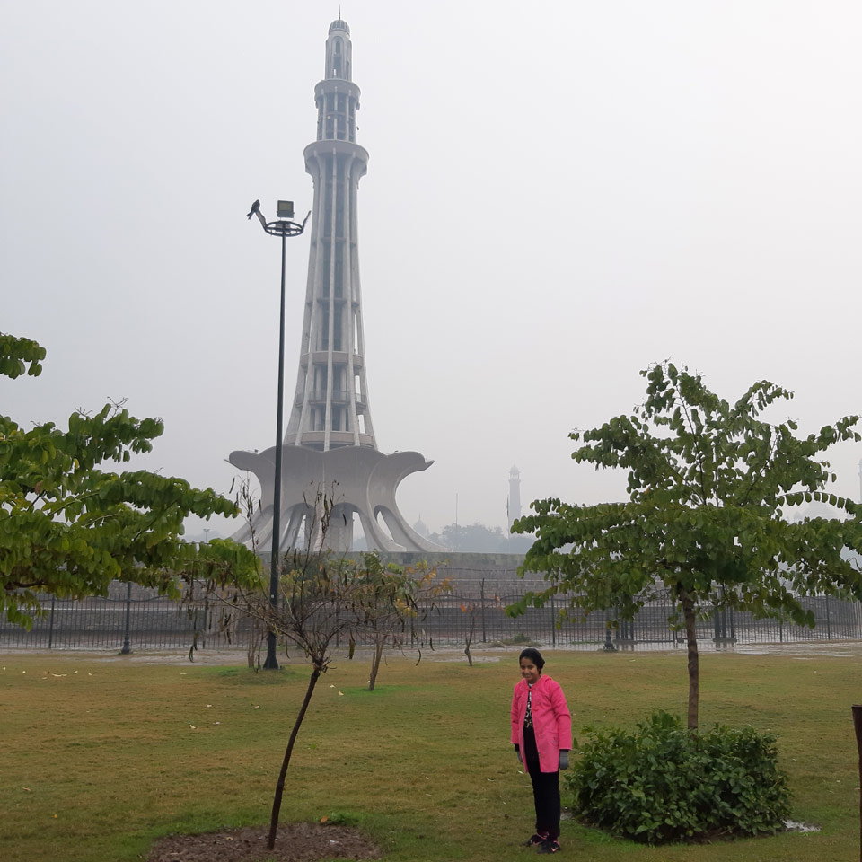 Zara beside the historic Minar-e-Pakistan.