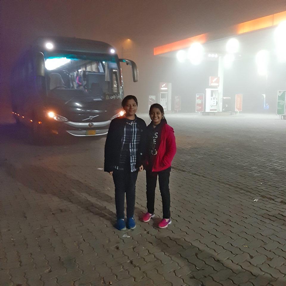 On the way back to Karachi, Zoya and Zara in Multan.