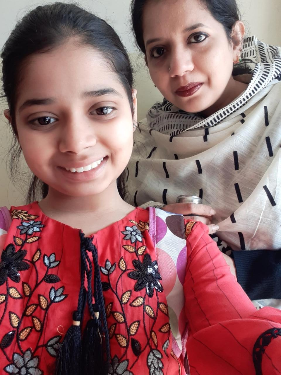 Zara Imran with her Mom inside the Clifton Hotel in Lahore
