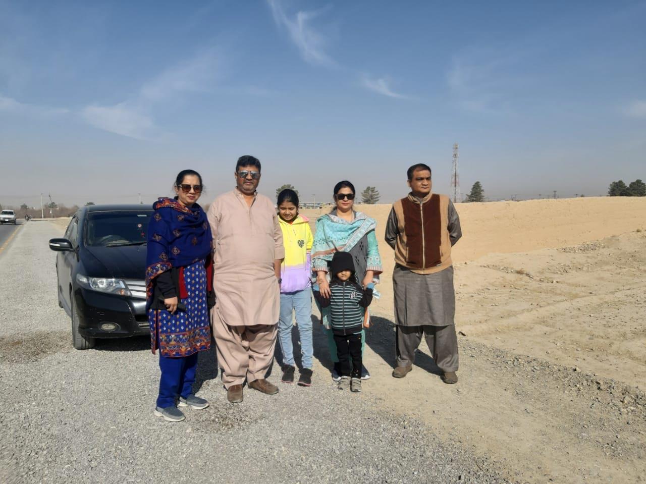 Erum, Imran, Zara, Ayesha, Farhat and Adnan on their way to Ziarat.