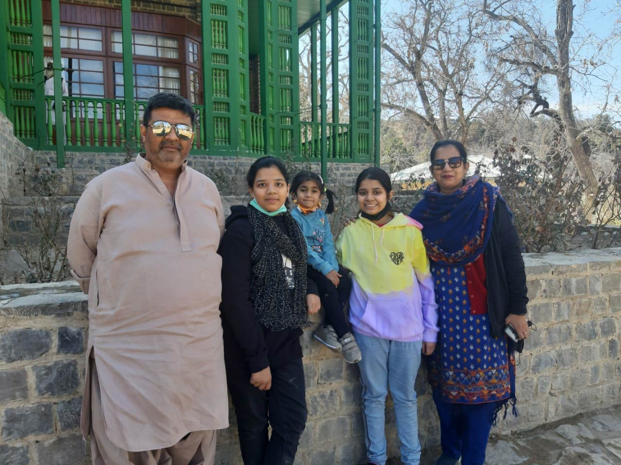 Imran, Zoya, Ayesha, Zara and Erum having fun at the residency.