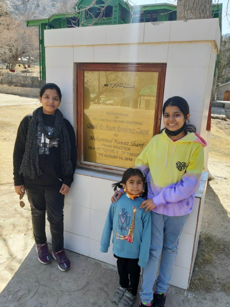 Zoya, Ayesha and Zara posing in front of reconstructed Quaid-e Azam residency.