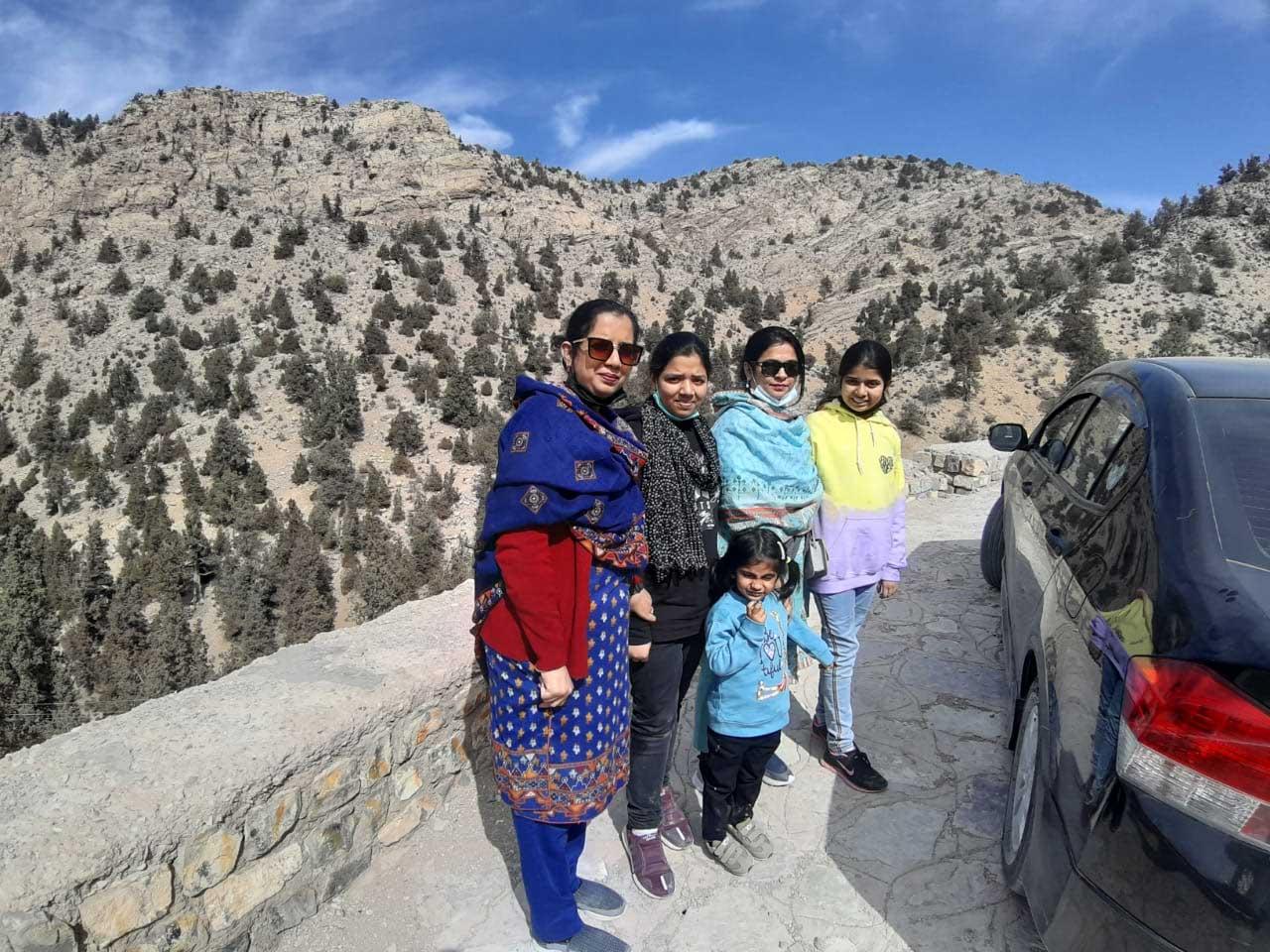 Erum, Zoya, Ayesha, Farhat and Zara on top of the mountain.