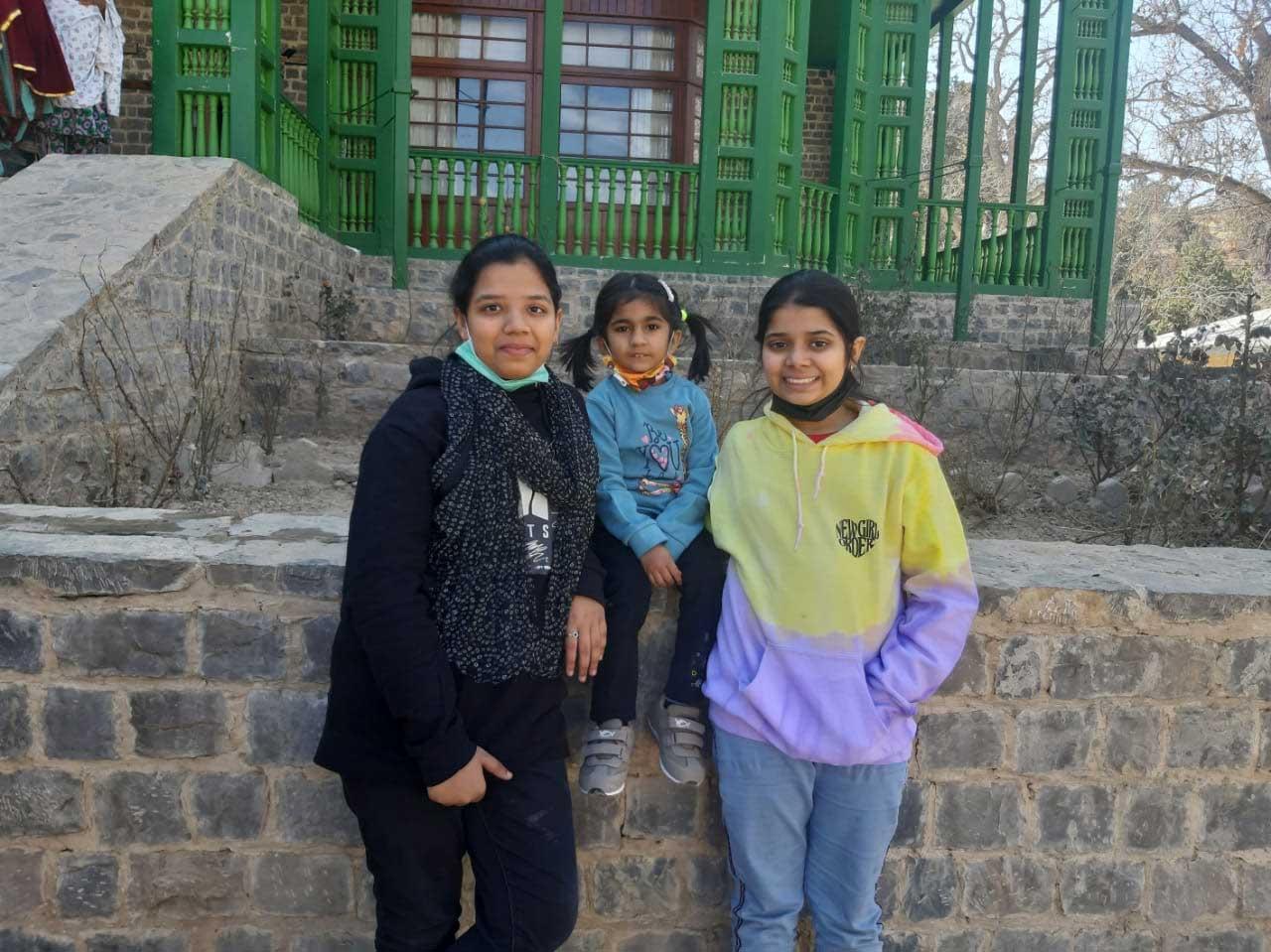 Zoya, Ayesha and Zara having fun outside of the Ziarat Residency.