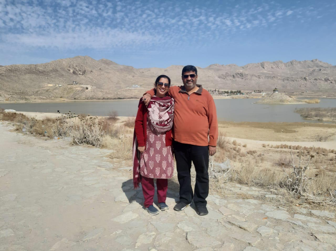 Imran and Erum chilling in front of the lake.