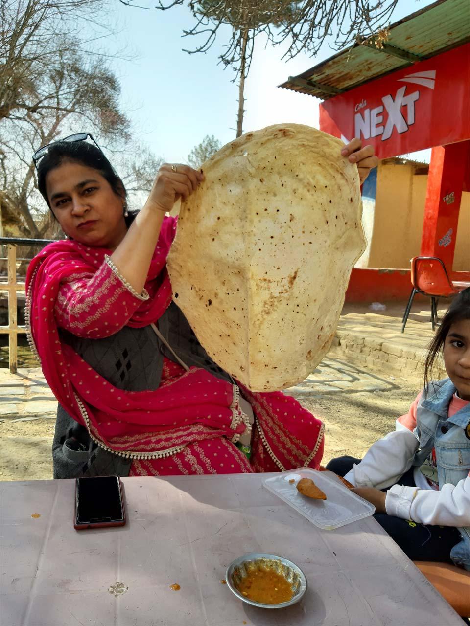 A homemade roti (bread) in Quetta.