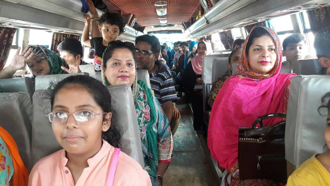 Mariam A. Rehman, Dr. Kiran A. Rehman, Dr. Sadia Sundus and others in the bus