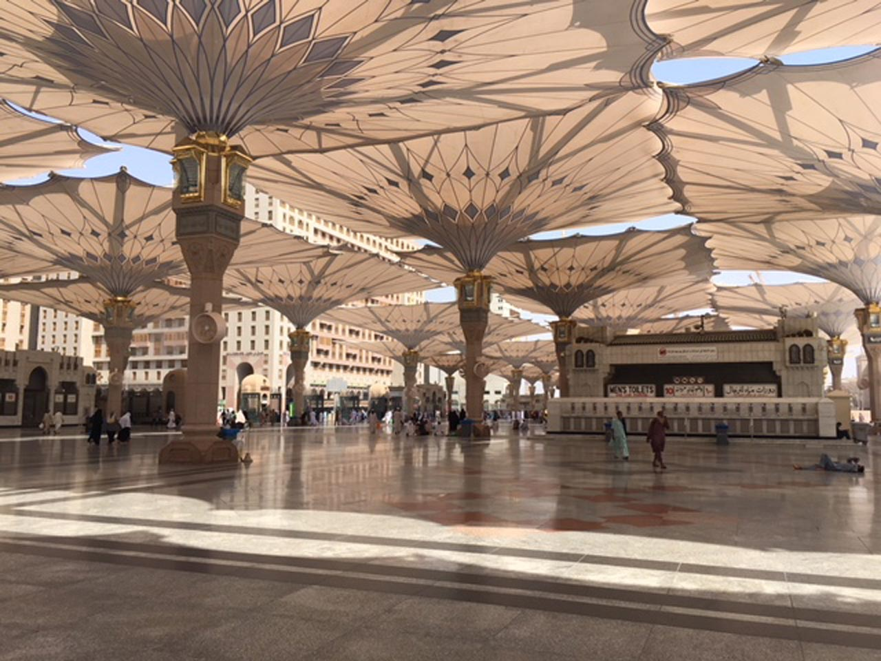The outside of the Masjid-e-Nabwi as all the Umbrellas are in open position