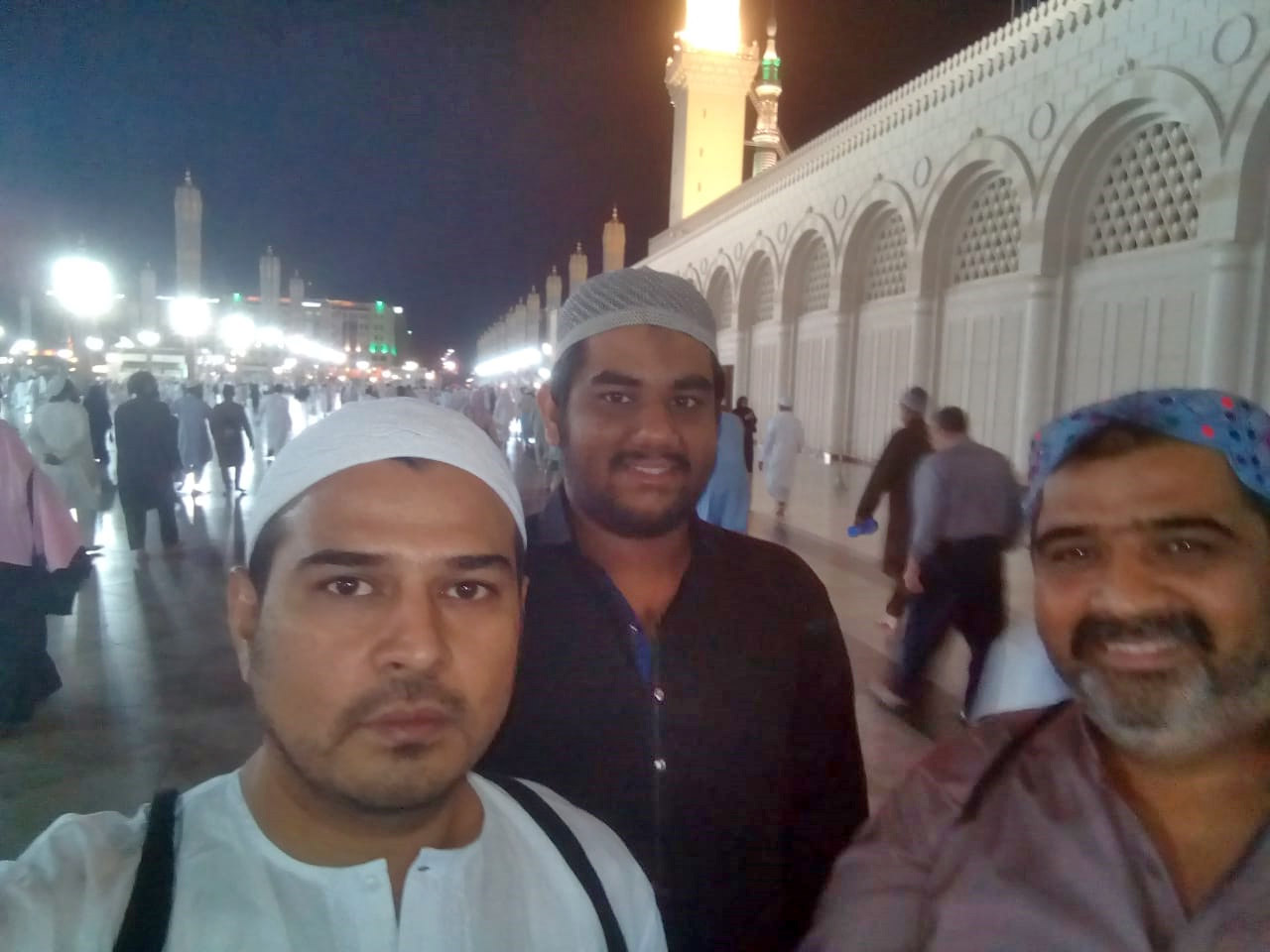 Kamran A. Khan, Engr. Taha A. Khan and Imran Ahmed Khan Ghouri outside the Masjid-e-Nabwi