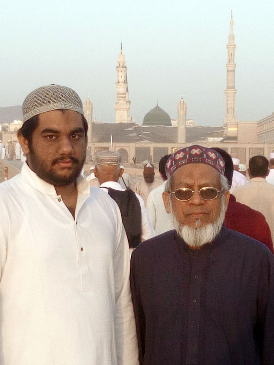 Engr. Taha A. Khan and Engr. Iqbal A. Khan inside Jannat Ul Baqi in Madina