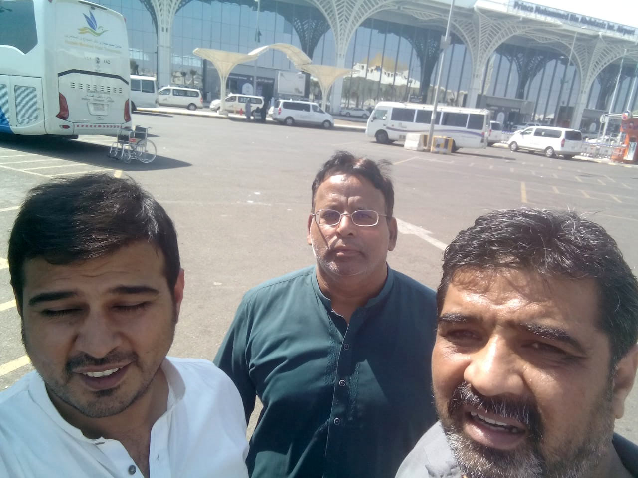 Kamran A. Khan, Dr. Ata Ur Rehman and Imran Ahmed Khan Ghouri at Madina Airport