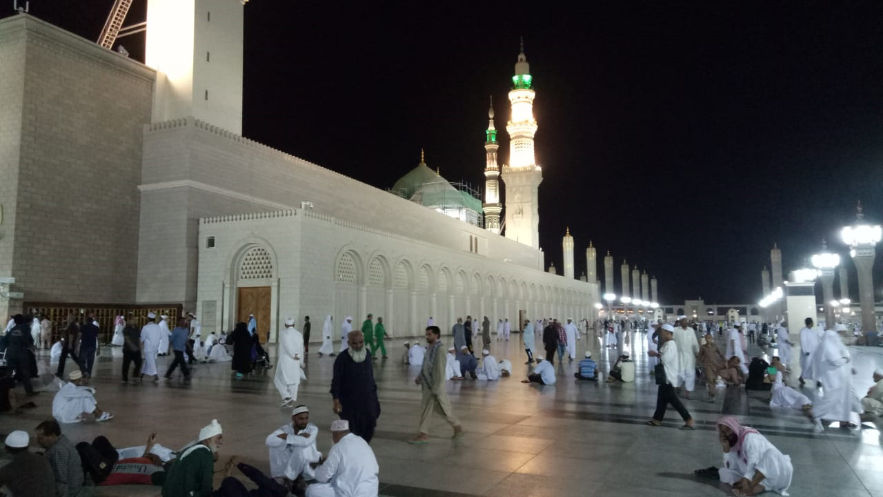 A nice view after Isha prayers outside the Masjid-e-Nabwi