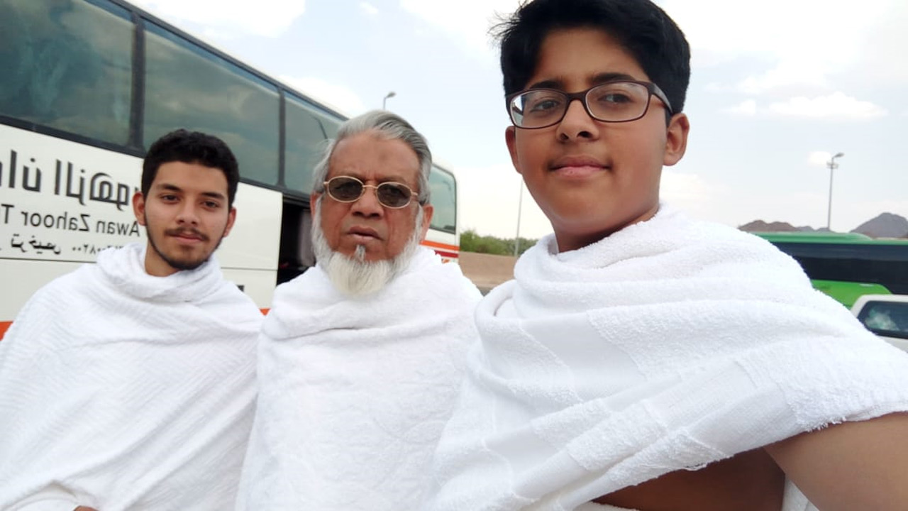 Obaid Ur Rehman, Engr. Iqbal Ahmed Khan and Habib Ur Rehman at Meekat in Ihram