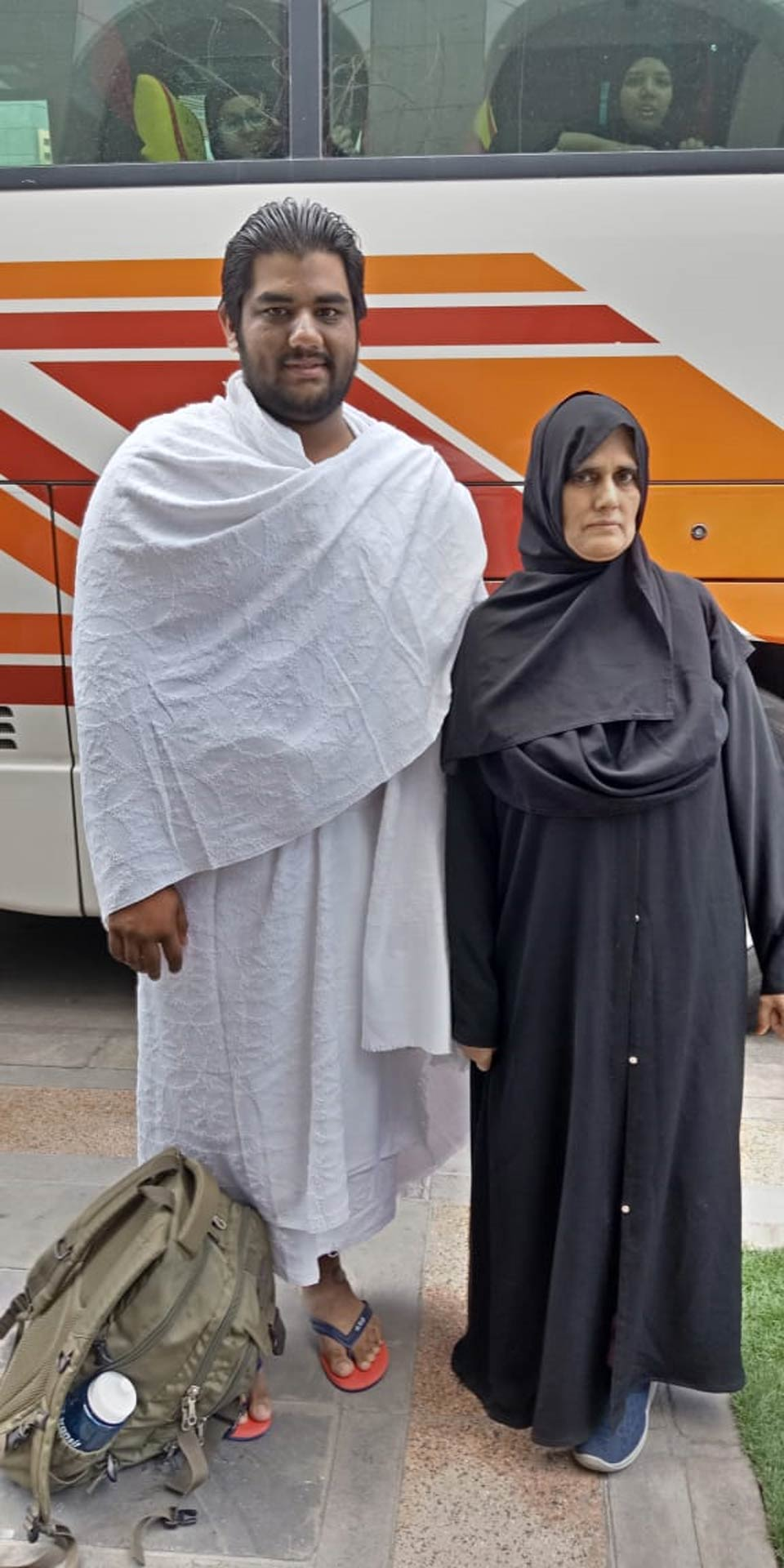 Engr. Taha Ahmed Khan in Ihram with his mother Mrs. Rudaba Irshad at Meekat
