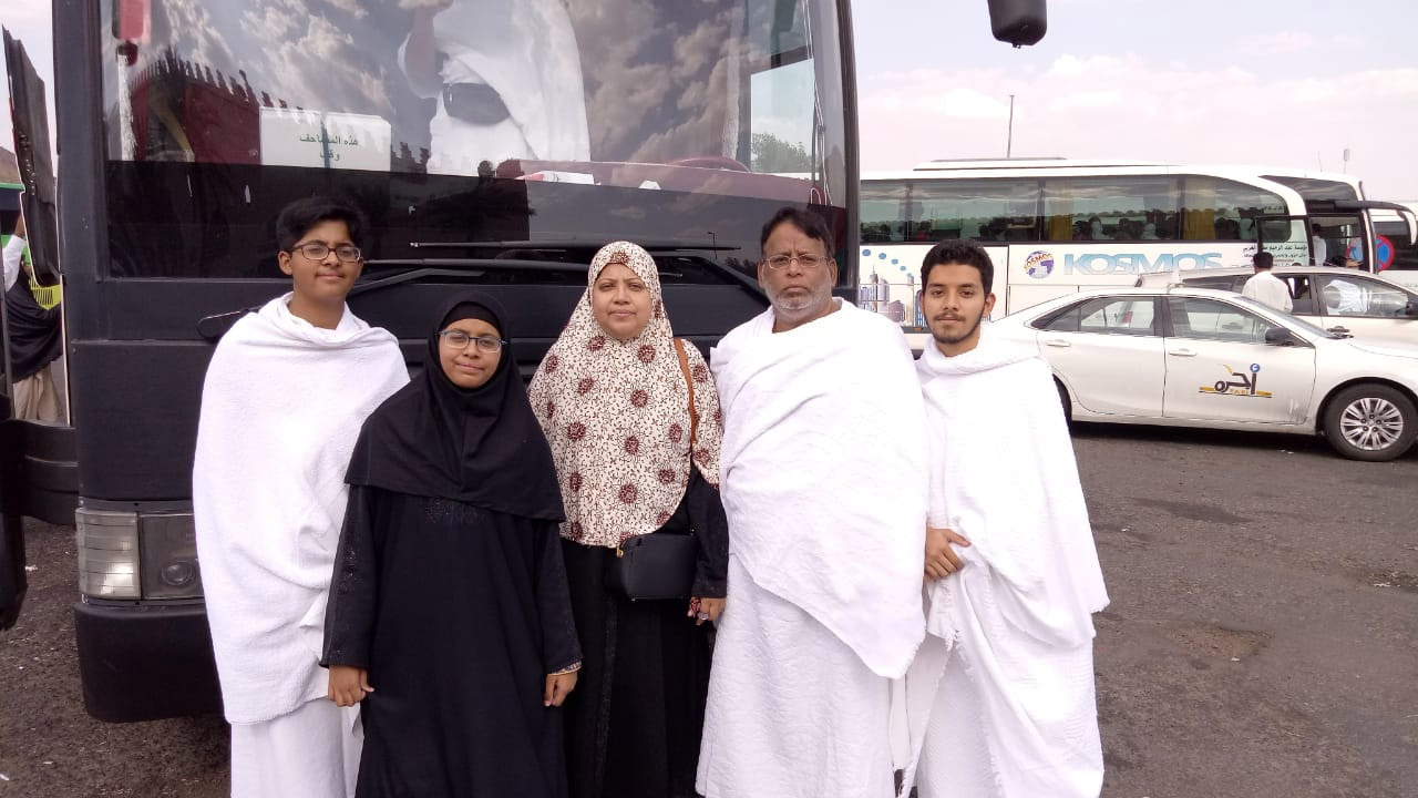 Habib, Mariam,  Dr Kiran A. Rehman, Dr Ata Ur Rehman and Obaid in Ihram at Meekat