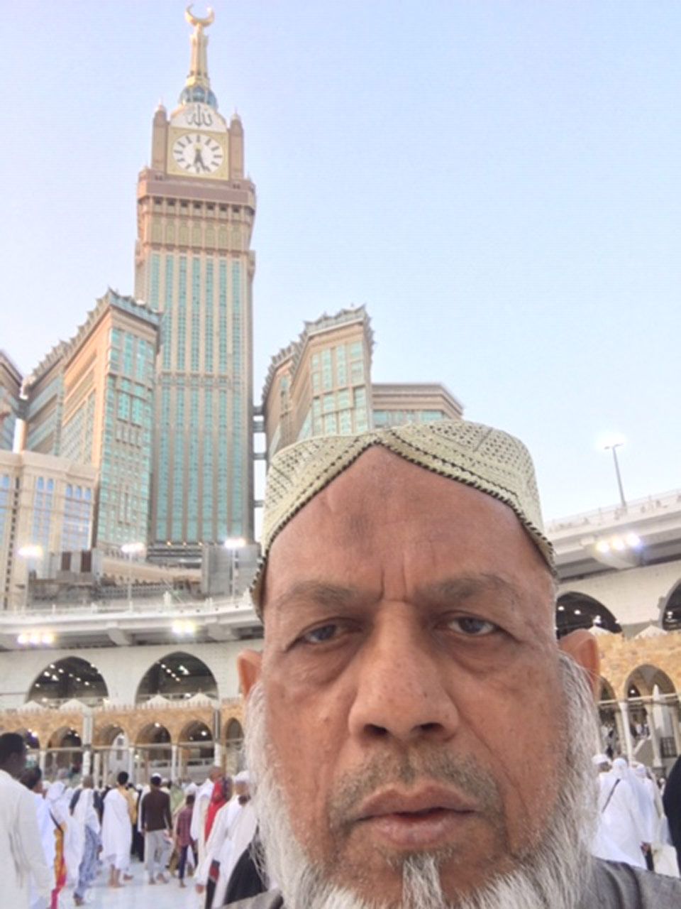 Engr Iqbal Khan is in Matab after Fajar while Clock Tower in Background
