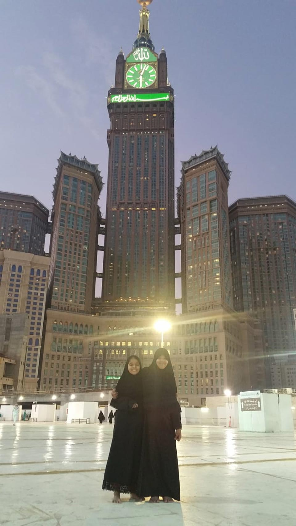 Zoya and Zara in front of the Clock Tower Makkah