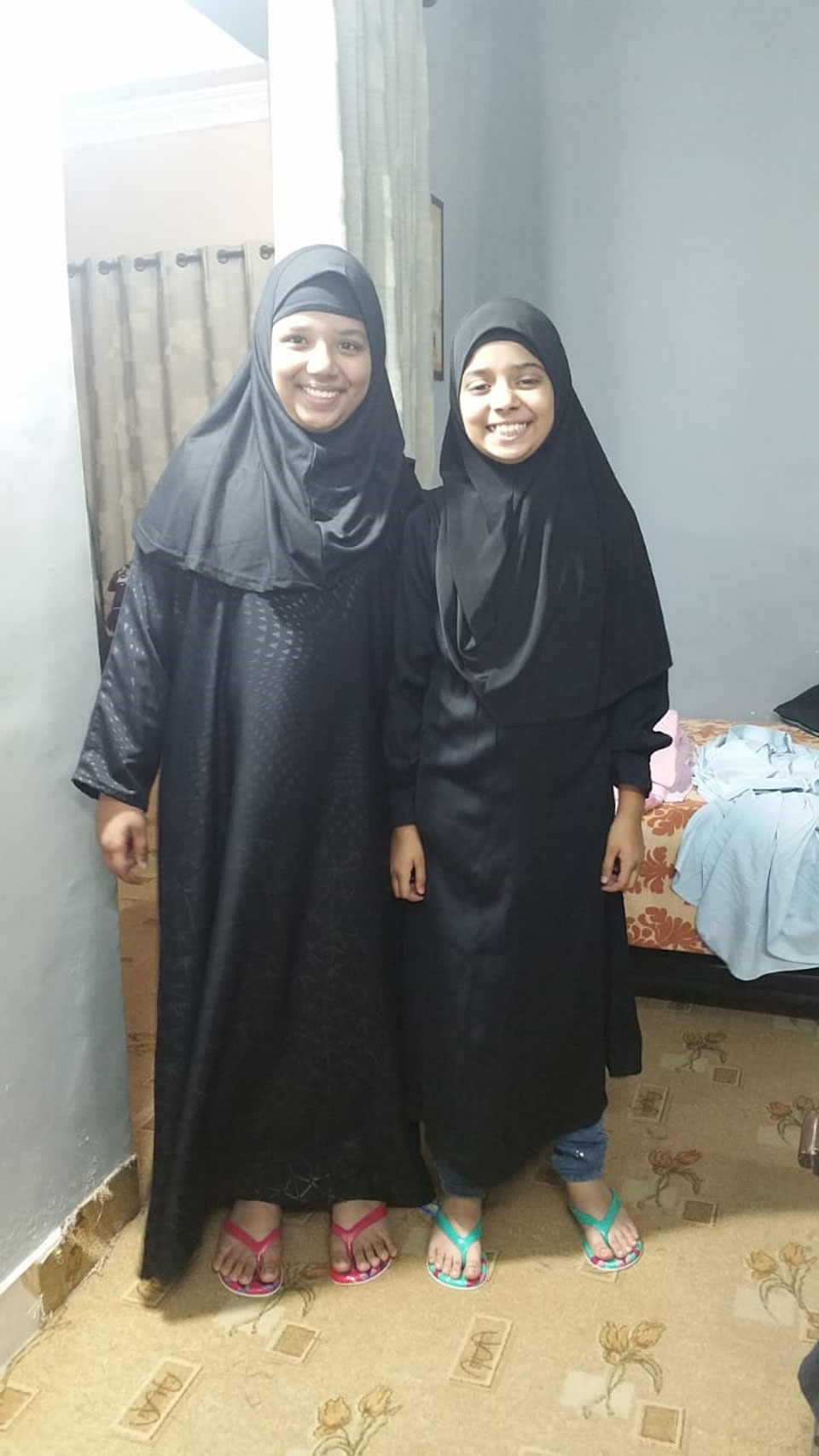 The two sisters Zoya and Zara in Abaya