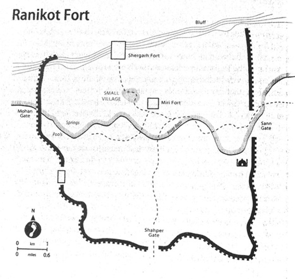 The outline of Rani Kot Fort, showing all the gates with their location