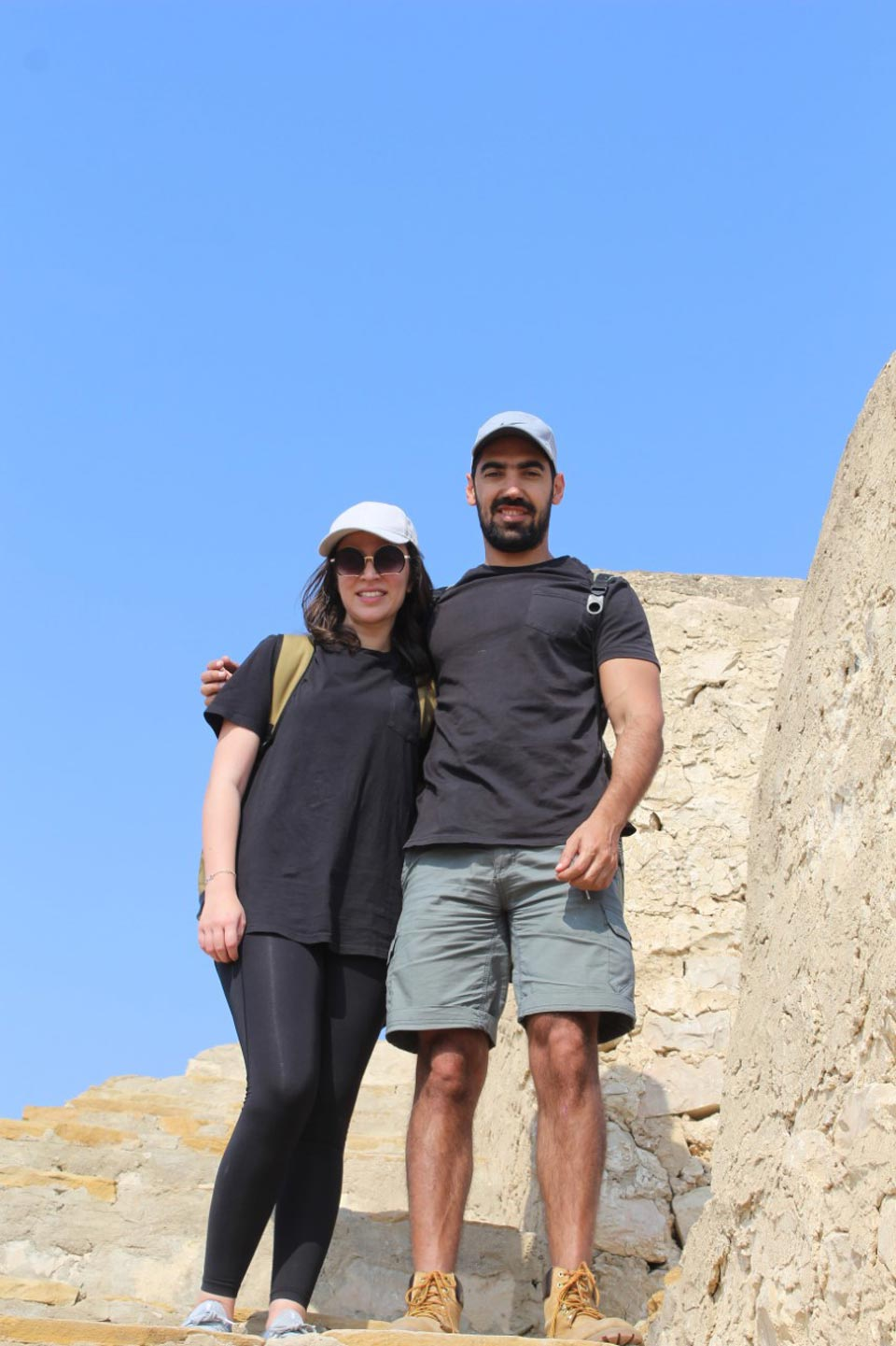 Ms. Emaan from Australia and Mr. Firaz from Syria enjoying on the top of the great wall of Sindh