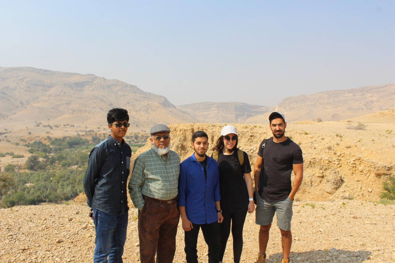 Habib Ur Rehman, Engr. Iqbal A. Khan, Engr. Obaid Ur Rehman, Ms Emaan and Mr. Firaz on the outskirts of the Great Wall of Sindh