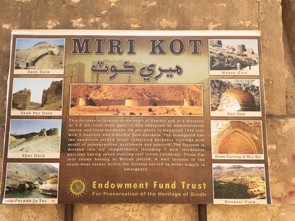 A board inside the Miri Kot showing names of all the entry Gates name of Rani Kot Fort