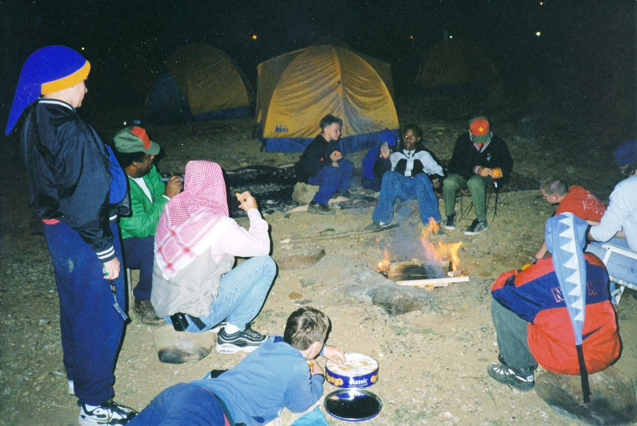 Troop 256 Relaxing Around the Campfire