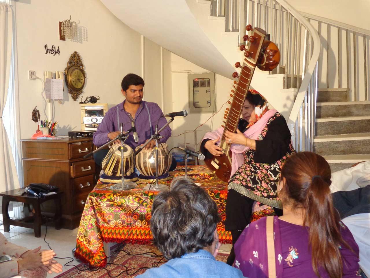 Almas on Tabla and Mrs. Mah Noor Siddiqui on Sitar